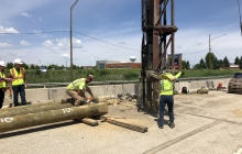 Piling installation at the retaining wall.