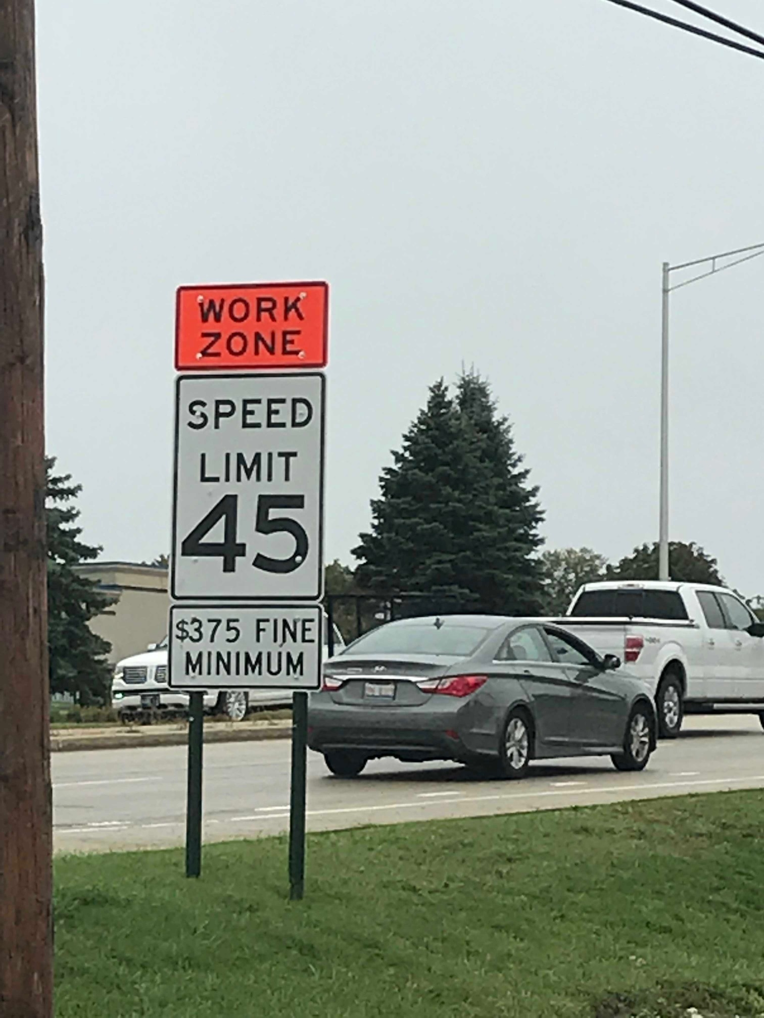 Work zone speed limit signs