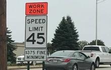 Work zone speed limit signs
